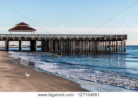 Viewing pier and gazebo at Buckroe Beach in Hampton, Virginia.