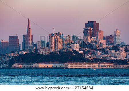 View of the San Francisco at sunset