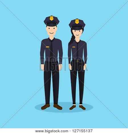 Male And Female Police Officers In Flat Design. Vector Illustration.