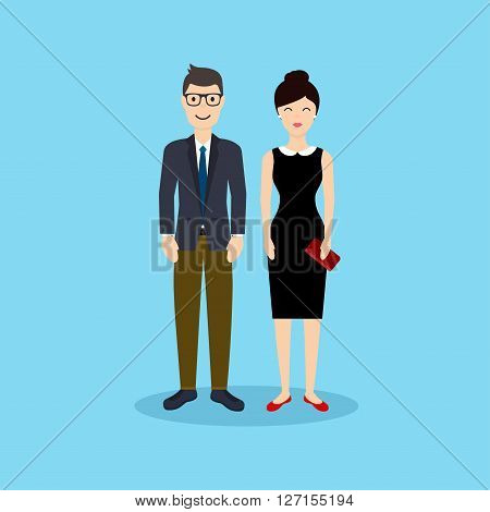 Business Man And Woman In Flat Design. Vector Illustration.
