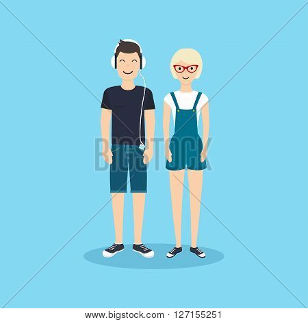 Man And Woman In Casual Clothing.vector Illustration In Flat Design.