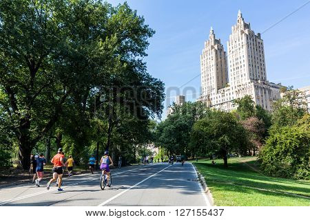 MANHATTAN NEW YORK - SEPTEMBER 19, 2015: View to the The San Remo Building and Central Park on September 19, 2015. The Central Park was closed on this day for non motorized vehicles and pedestrians only.