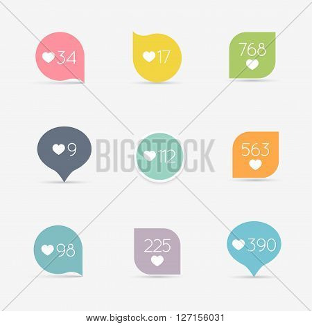Vector Like Counter button icon set. Communication and network web and internet ribbons and labels design. Vector illustration