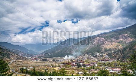 Thimphu capital city of Bhutan Valley country in the bird eye view