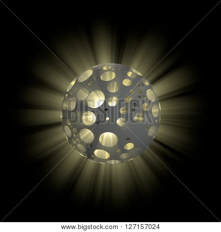 3D illustration of hollow ball with shine inside on black background
