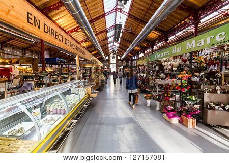 COLMAR FRANCE - NOVEMBER 5, 2015: Inside views of the Market Hall in the old town part of Colmar on November 5, 2015. Colmar is a city in region Alsace in France.