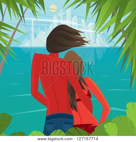 Tanned man and woman standing on the shore of the island and look at the futuristic city in the distance - Civilization or Better life concept