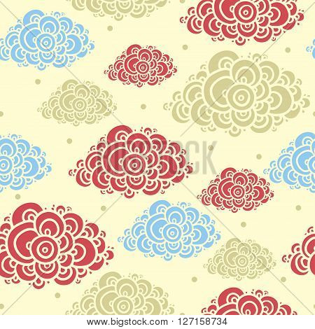 Vector seamless illustration of colorful beautiful clouds.