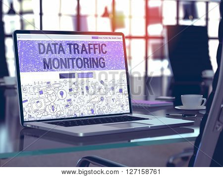 Data Traffic Monitoring Concept - Closeup on Landing Page of Laptop Screen in Modern Office Workplace. Toned Image with Selective Focus. 3D Render.