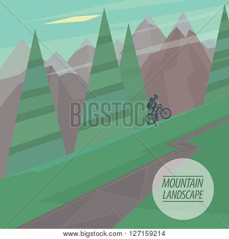 Spring picturesque mountain landscape with steep slopes and winding road cyclist riding upstairs in the fashionable flat style and square ratio