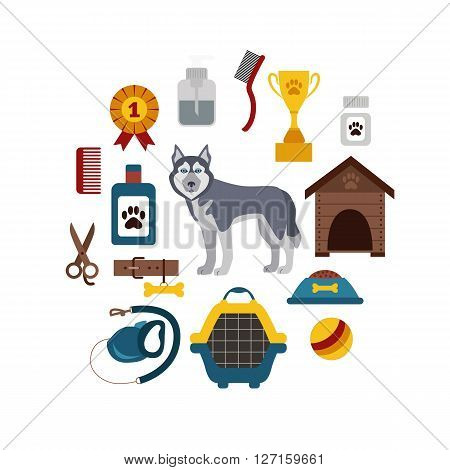 Pet grooming concept with dog care elements. Pet grooming:bowl, collar, leash. Pet grooming  poster vector illustration. Colorful Pet grooming concept in flat style. Dog care pet grooming concept
