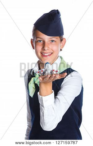 Portrait of Charming Girl Stewardess Dressed In Blue Uniform On White Background ** Note: Shallow depth of field