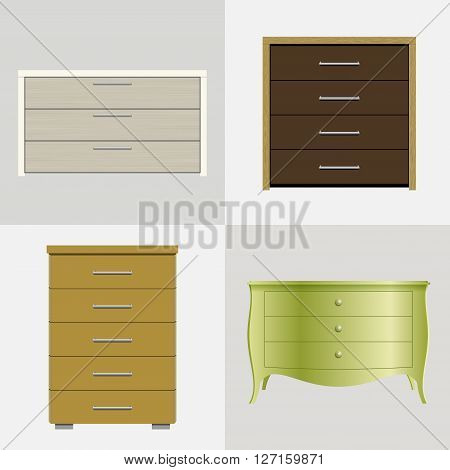 Set of different drawers, wardrobes for clothes and linen