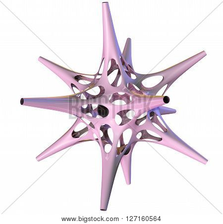 3D illustration of three-dimensional object like techno polyhedron star
