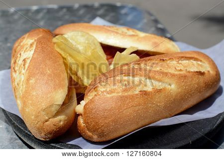 Spanish tapas sub rolls with mixed meats