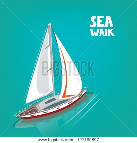 Unusual view from above on a sailing yacht floating on the sea. In the water the reflection of the boat. Inscription Sea Walk.