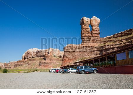 BLUFF UTAH USA - AUGUST 27, 2015: Views of the stone formation called Twin Rocks and the Twin Rocks Cafe in Bluff on August 27, 2015. Bluff is a small Village in southern Utah.