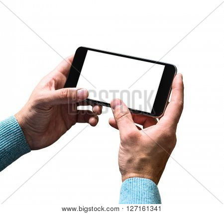 Working with a smart phone, isolated on white. Clipping path included.