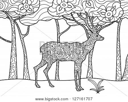 Deer coloring book for adults raster illustration. Anti-stress coloring for adult. Zentangle style. Black and white lines. Lace pattern