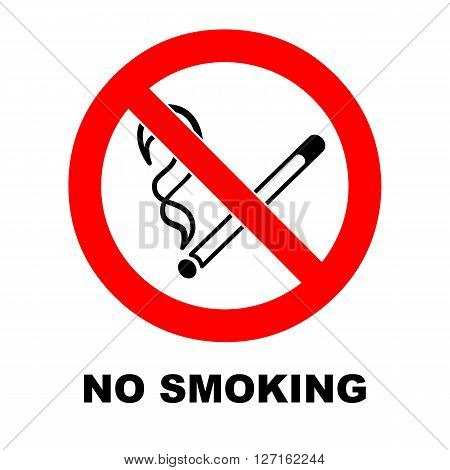 No smoking sign on white background. No smoking vector symbol with description. Warning icon.