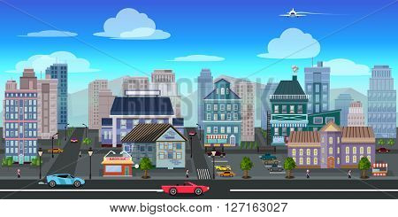 city game background 2d game application. Vector design. Tileable horizontally. Size 1024x512. Ready for parallax effect