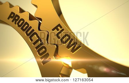 Flow Production on Mechanism of Golden Metallic Cogwheels. Golden Metallic Cogwheels with Flow Production Concept. Flow Production on the Mechanism of Golden Metallic Cogwheels with Glow Effect. 3D.