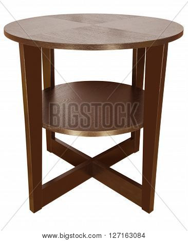 Wooden coffee table isolated on white background. Clipping Path included.
