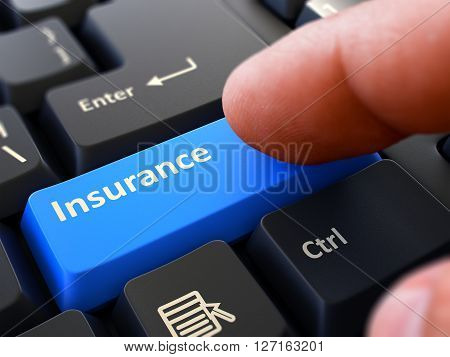Insurance Blue Button - Finger Pushing Button of Black Computer Keyboard. Blurred Background. Closeup View. 3D Render.