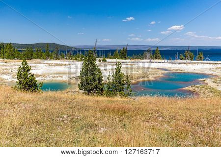 YELLOWSTONE NATIONAL PARK, WYOMING, USA - SEPTEMBER 1, 2015: View of the West Thumb Geyser Basin in Yellowstone National Park USA