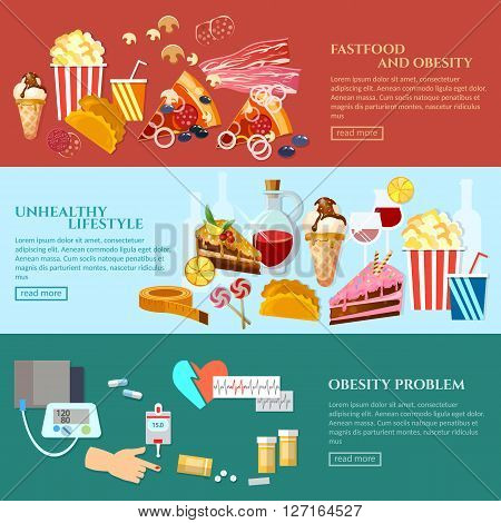 Unhealthy food banner obesity unhealthy lifestyle fast food and sweets