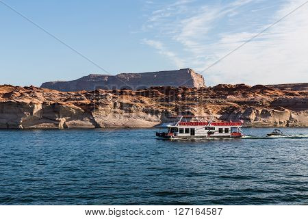 LAKE POWELL, UTAH, USA - SEPTEMBER 5, 2015: View of the Glen Canyon on the Lake Powell from boat Utah on September 5, 2015. Lake Powell is popular for recreation and boat tours.
