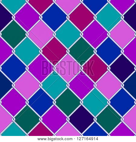 Silver wire grid seamless pattern on motley rhomboids background. Vector illustration
