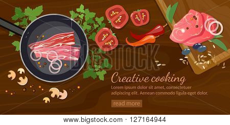 Raw fresh meat on wooden table banner fresh meat red meat in a frying pan