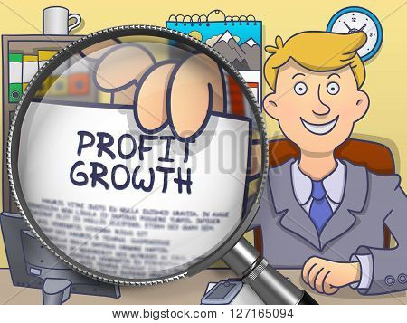 Business Man in Suit Holds Out a Paper with Profit Growth Concept through Magnifier. Closeup View. Colored Modern Line Illustration in Doodle Style.