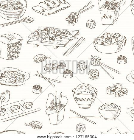 Asian Food. Decorative chinese food seamless pattern. Vector illustration for design menus, recipes and packages product.