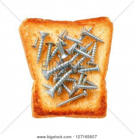 metal screws on toasted bread. concept. to have a cast iron stomach. isolated on white background