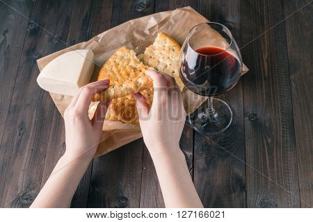 Cheese And A Glass Of Wine