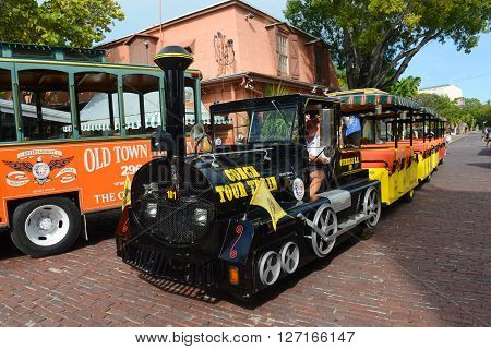 KEY WEST, FL, USA - JAN 1: Key West Conch Tour Train on Jan 1st, 2015 in downtown Key West, Florida, USA.