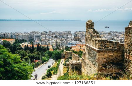 THESSALONIKI, GREECE - MAY 27, 2015: The view of Thessaloniki from the ramparts. In the center is The Rotunda of Galerius, Paleochristian and Byzantine Monuments of Thessaloniki