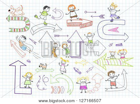 Collection of happy children with arrows. Sketch on notebook page in doodle style