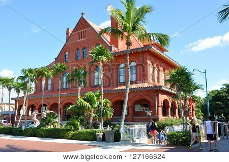 KEY WEST, FL, USA - DEC 20: Old Post Office and Custom house, currently as Key West Museum of Art & History on Dec 20, 2012 in downtown Key West, Florida, USA.