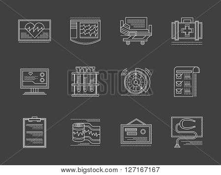 Medical and health care concept. Cardiology center. Equipment and accessories for heart treatment. Collection of white flat line vector icons on black. Elements for web design, business, mobile app.
