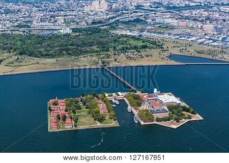 NEW YORK, USA - AUGUST 24, 20215: Views of Ellis Island New Jersey from a helicopter tour over Manhattan.