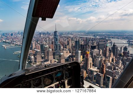 NEW YORK - AUGUST 24: Views of Midtown Manhattan from a helicopter in New York on August 24 2015. Helicopter tours are popular by tourist in New York.