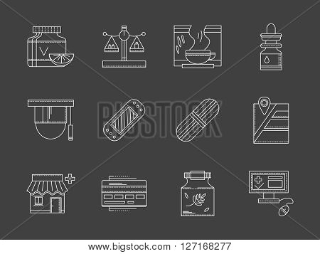 Pharmacy and drugstore theme. Order medicine online. Healthcare and treatment. Collection of white flat line style vector icons on black. Elements for web design, business, mobile app.