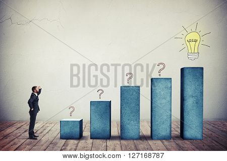Businessman in a formal wear is watching on rising chart background