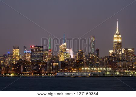 NEW YORK - AUGUST 24: Views of Midtown Manhattan from the J. Owen Grundy Park on New Jersey side on August 24 2015. This park provides a beautiful view to the Manhattan skyline.