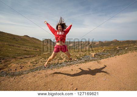 Girl on Pikes Peak Mountain Colorado 2015