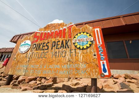 ?pikes Peak, Colorado - August 26: Views Of The Pikes Peak Sign Plate On Top Of The Mountain On Augu