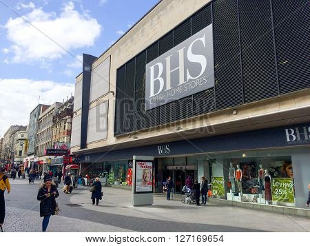 LIVERPOOL UK - APRIL 25: the exterior of a BHS store on May 9, 2013 in Liverpool, England. BHS, the clothing retailer, has over 17,000 employees and was bought by the Arcadia Group in 2009.